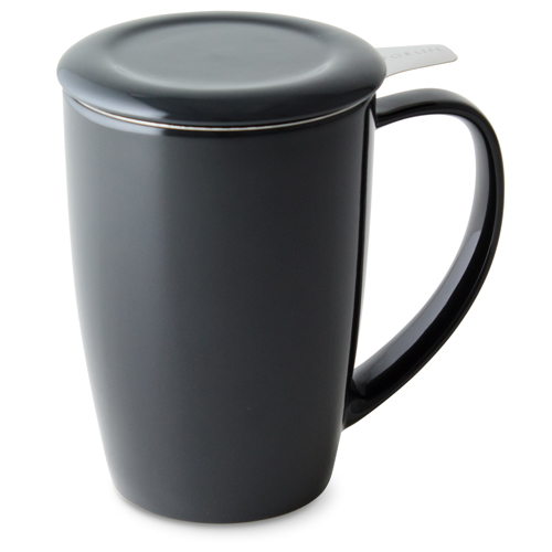 black curve tall tea mug with infuser and lid