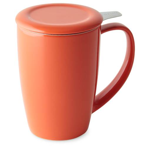 carrot curve tall tea mug with infuser and lid