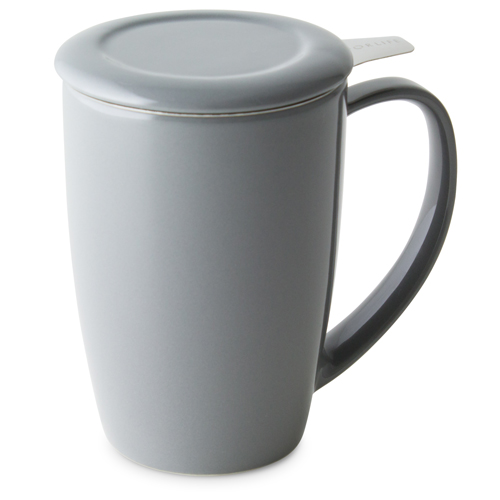 gray curve tall tea mug with infuser and lid