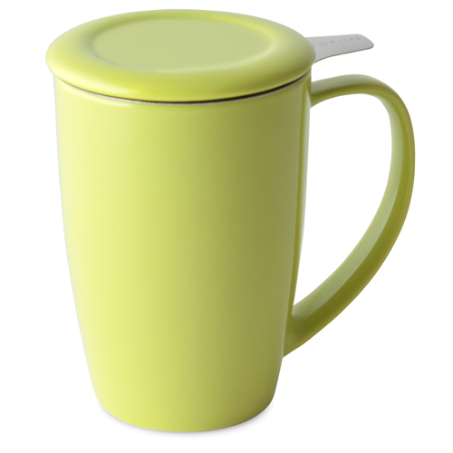 lime curve tall tea mug with infuser and lid