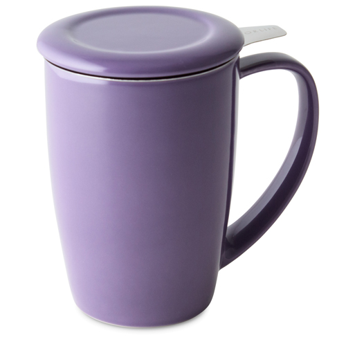 purple curve tall tea mug with infuser and lid