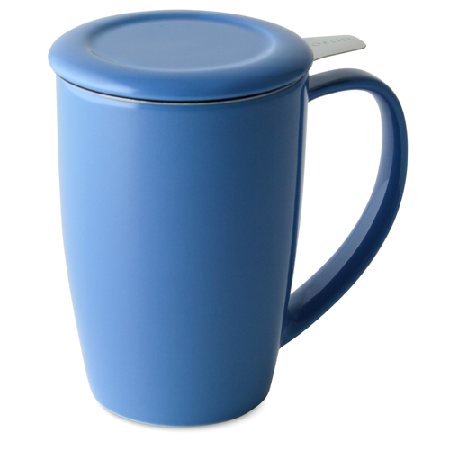 blue curve tall tea mug with infuser and lid