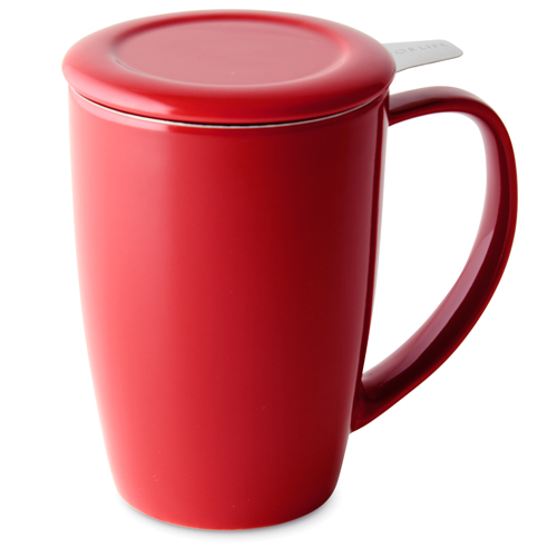 red curve tall tea mug with infuser and lid