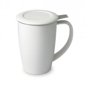 white curve tall tea mug with infuser and lid